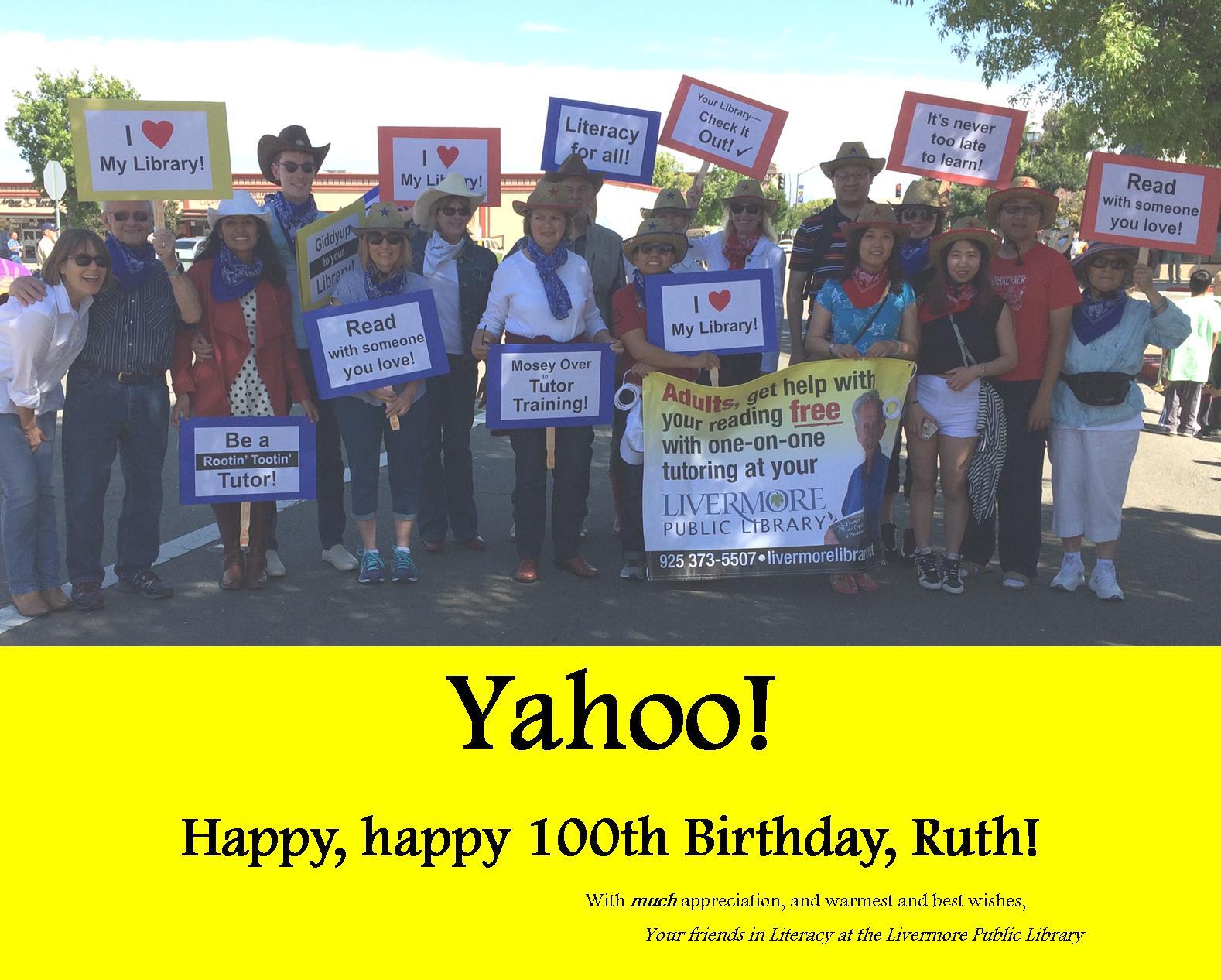 Livermore Public Library celebrates Ruth Colvin's birthday.