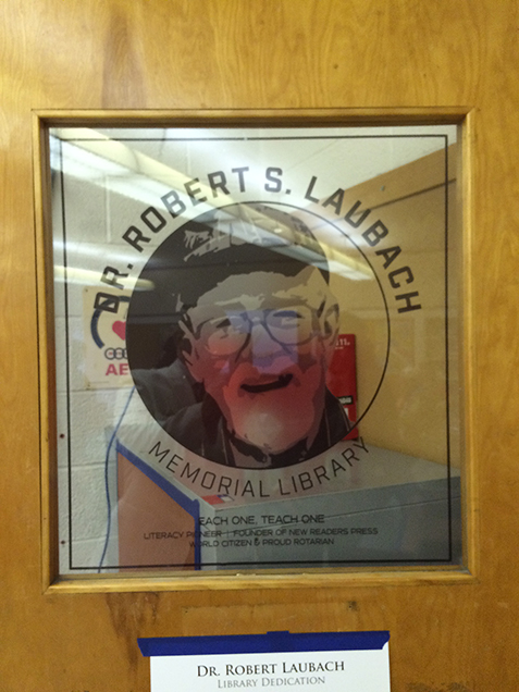 NSLC door with an illustration of Dr. Bob
