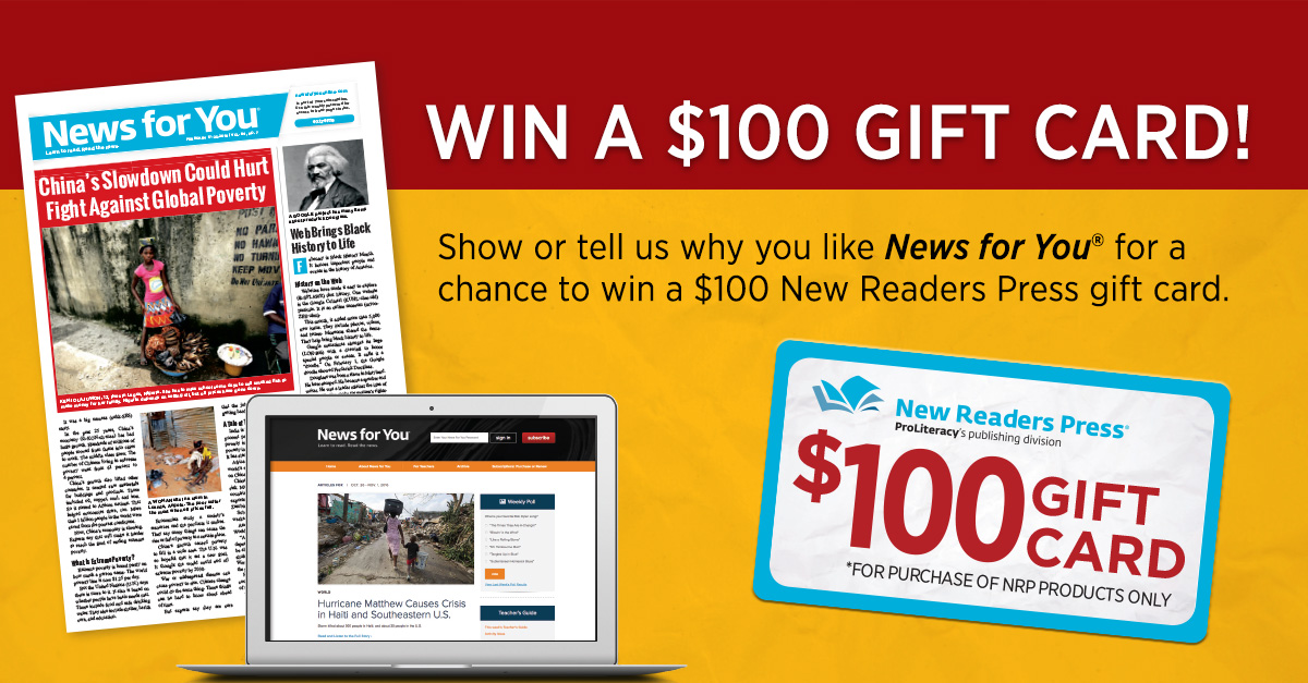 Enter to Win a $100 New Readers Press Gift Card