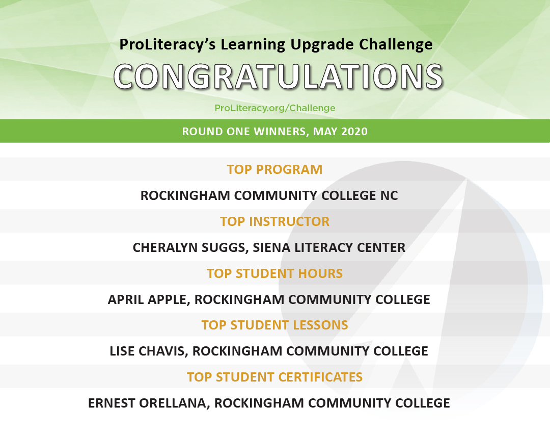 """""""ProLiteracy Learning Upgrade Challenge - Cycle One Winners"""