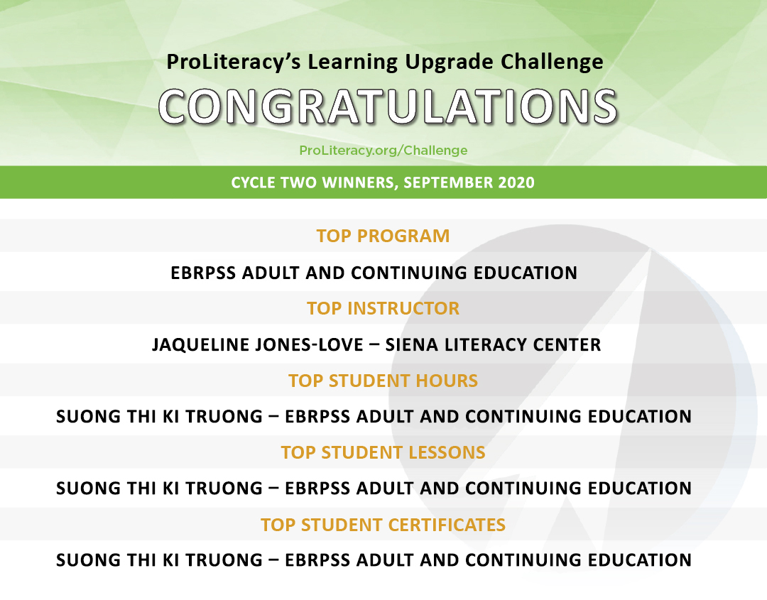 """""""ProLiteracy Learning Upgrade Challenge - Cycle Two Winners"""