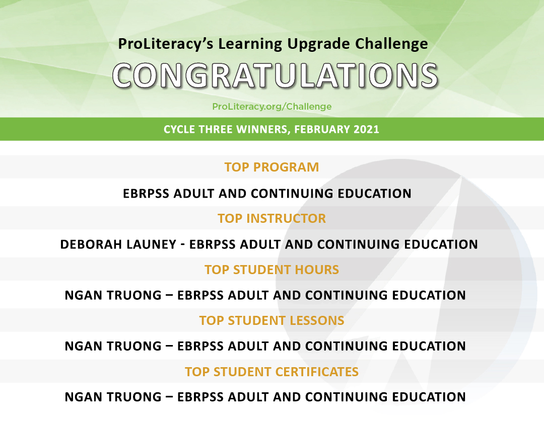 """""""ProLiteracy Learning Upgrade Challenge - Cycle Three Winners"""