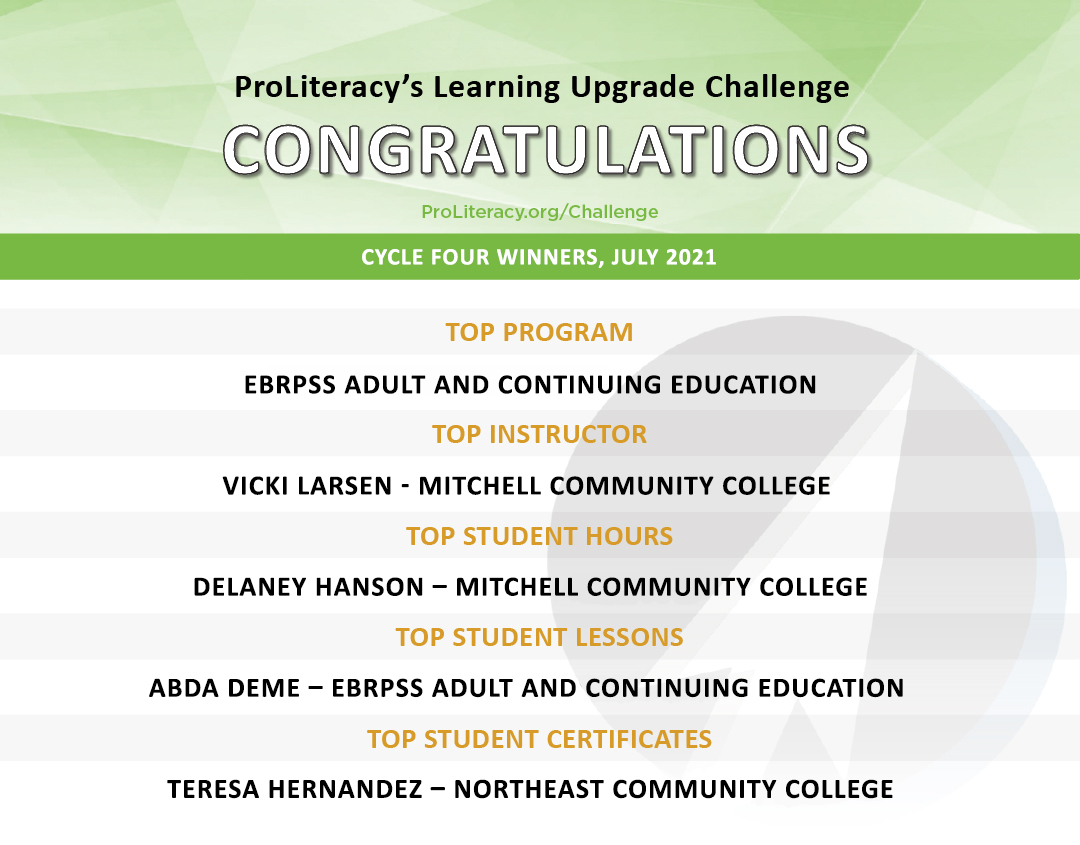 """""""ProLiteracy Learning Upgrade Challenge - Cycle Four Winners"""