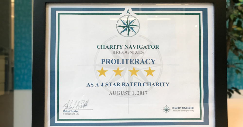 ProLiteracy Earns 4-Star Rating from Charity Navigator