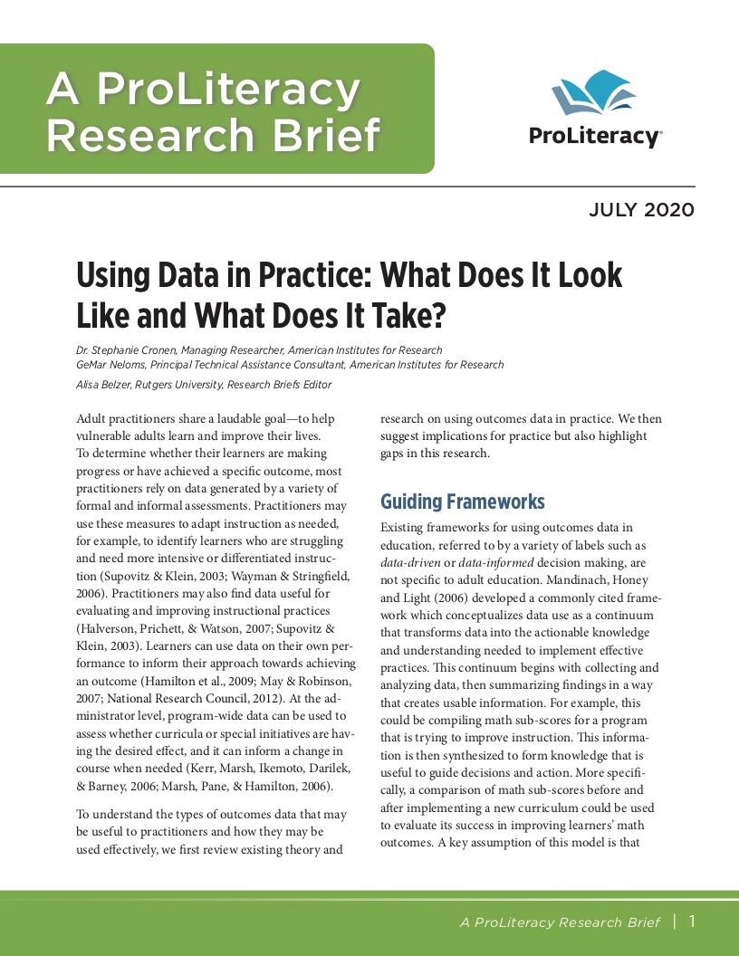 ProLiteracy Research Brief - Data