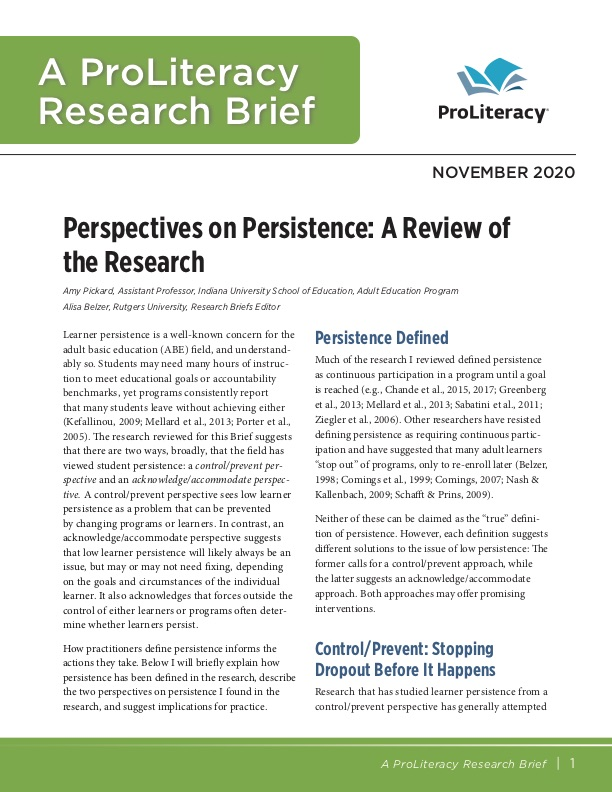 ProLiteracy Research Brief - Persistence
