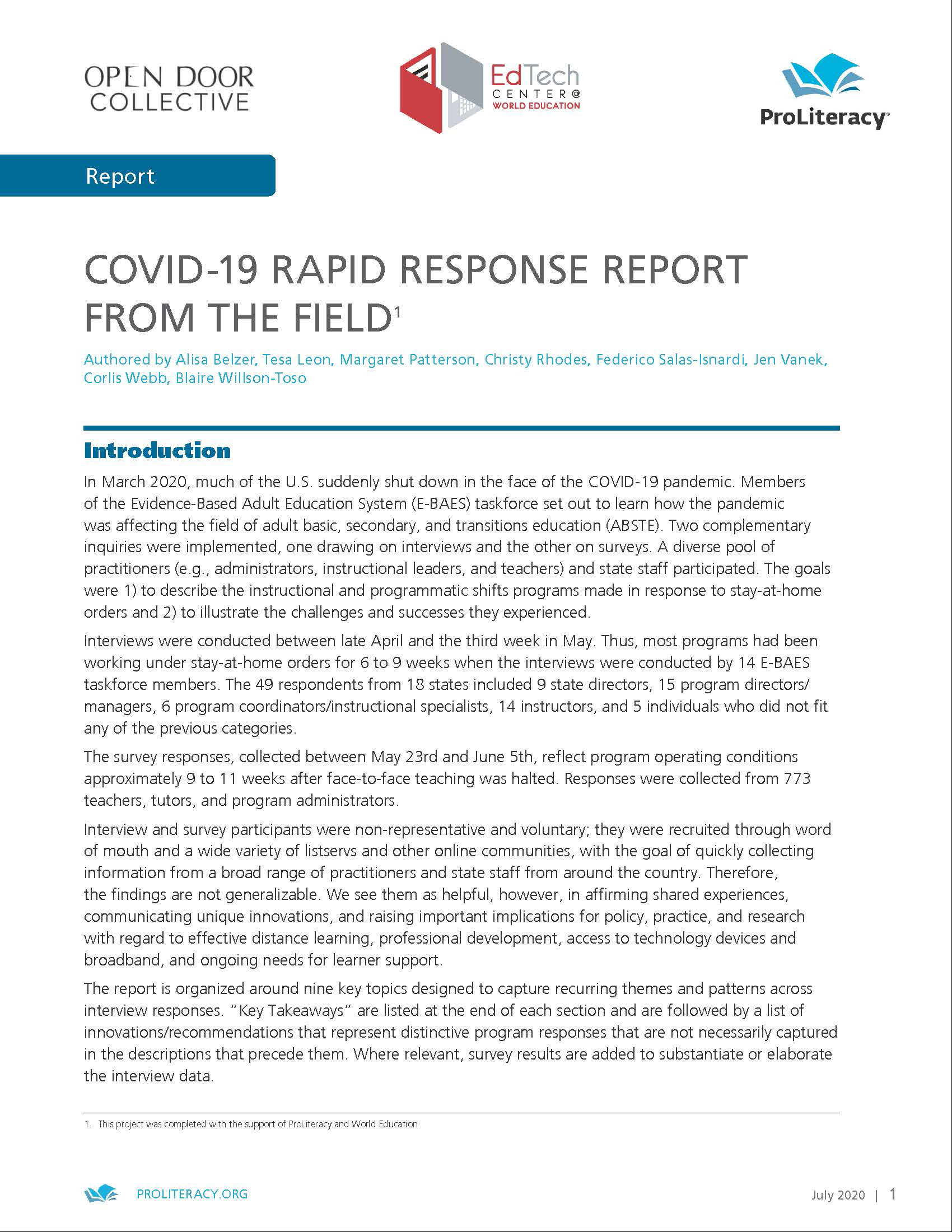 COVID-19 RAPID RESPONSE REPORT FROM THE FIELD