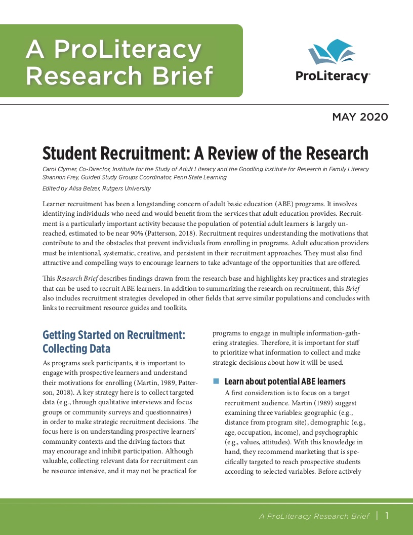 ProLiteracy Research Brief - Recruitment