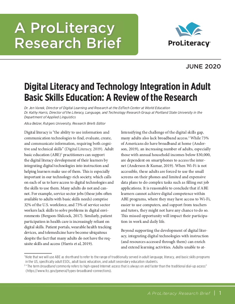 ProLiteracy Research Brief - Technology